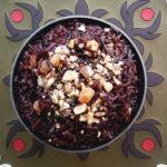 Riz noir aux raisins secs et amandes fumées - stylisme culinaire Youcookme
