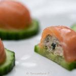 bouchées saumon et concombre en gelée - stylisme culinaire Youcookme