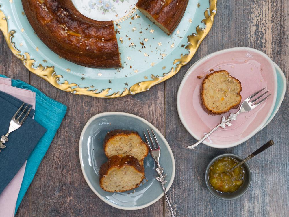 stylisme culinaire : gâteau yaourt orange sésame épices - Youcookme
